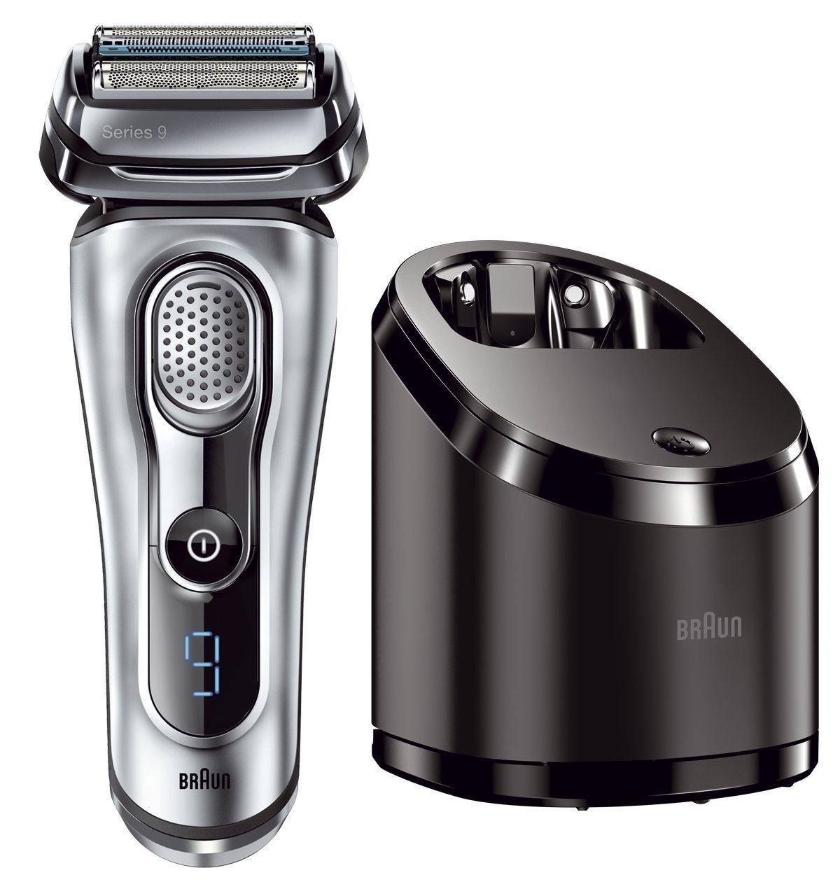 Braun Series 9 9090cc Rasoio Elettrico Barba a Lamina con Sistema Clean&Charge, Argento Satinato