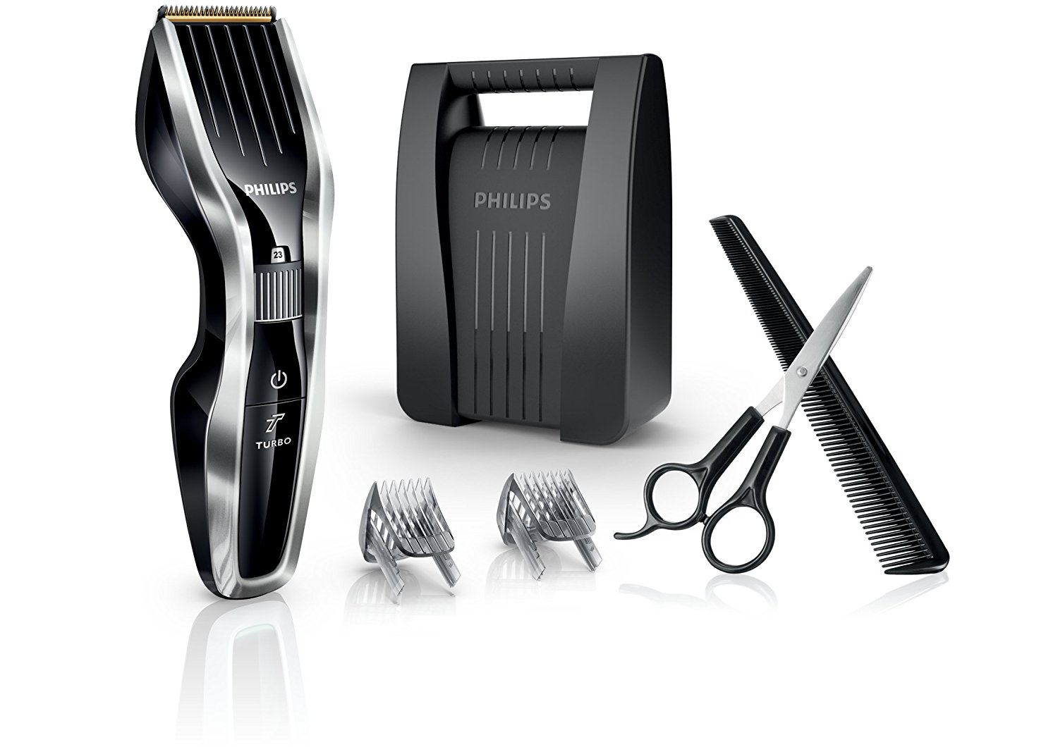Philips HC7450/80 Serie 7000 - KIT Regolacapelli con Tecnologia DualCut + Funzione Turbo e Lame in Titanio