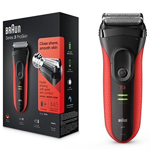 Braun Series 3 ProSkin 3030s Rasoio Elettrico Ricaricabile, Rasoio da Barba per Uomo, Rosso